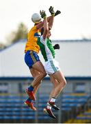 18 October 2020; Eoin Donnelly of Fermanagh competes for a high ball with Cathal O'Connor during the Allianz Football League Division 2 Round 6 match between Clare and Fermanagh at Cusack Park in Ennis, Clare. Photo by Diarmuid Greene/Sportsfile