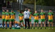 18 October 2020; Donegal players observe a moment's silence in honour of former Tyrone goalkeeper Jonathan Curran prior to the Allianz Football League Division 1 Round 6 match between Donegal and Tyrone at MacCumhail Park in Ballybofey, Donegal. Photo by David Fitzgerald/Sportsfile