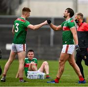 18 October 2020; David McBrien, left, and Aidan O'Shea of Mayo following the Allianz Football League Division 1 Round 6 match between Galway and Mayo at Tuam Stadium in Tuam, Galway. Photo by Ramsey Cardy/Sportsfile