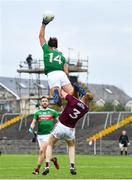 18 October 2020; Aidan O'Shea of Mayo climbs above Séan Andy Ó Ceallaigh of Galway during the Allianz Football League Division 1 Round 6 match between Galway and Mayo at Tuam Stadium in Tuam, Galway. Photo by Ramsey Cardy/Sportsfile