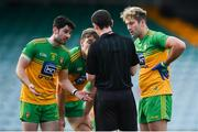 18 October 2020; Donegal players, from left, Ryan McHugh, Hugh McFadden and Stephen McMenamin remonstrate with referee Jerome Henry after he awarded a penalty for Tyrone during the Allianz Football League Division 1 Round 6 match between Donegal and Tyrone at MacCumhail Park in Ballybofey, Donegal. Photo by David Fitzgerald/Sportsfile