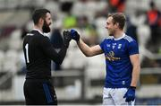 18 October 2020; Kildare goalkeeper Mark Donnellan fist bumps with Padraig Faulkner of Cavan after the Allianz Football League Division 2 Round 6 match between Kildare and Cavan at St Conleth's Park in Newbridge, Kildare. Photo by Piaras Ó Mídheach/Sportsfile