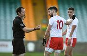 18 October 2020; Matthew Donnelly of Tyrone remonstrates with referee Jerome Henry following team-mate Rory Brennan's red card during the Allianz Football League Division 1 Round 6 match between Donegal and Tyrone at MacCumhail Park in Ballybofey, Donegal. Photo by David Fitzgerald/Sportsfile