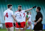 18 October 2020; Matthew Donnelly of Tyrone and Rory Brennan, left, remonstrate with referee Jerome Henry during the Allianz Football League Division 1 Round 6 match between Donegal and Tyrone at MacCumhail Park in Ballybofey, Donegal. Photo by David Fitzgerald/Sportsfile