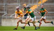 18 October 2020; Eoghan Campbell of Antrim in action against Colm Harty and Michael O'Leary of Kerry during the Allianz Hurling League Division 2A Final match between Antrim and Kerry at Bord na Mona O'Connor Park in Tullamore, Offaly. Photo by Matt Browne/Sportsfile