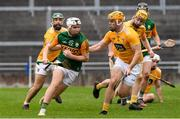 18 October 2020; Michael Slattery of Kerry in action against Matthew Donnelly of Antrim during the Allianz Hurling League Division 2A Final match between Antrim and Kerry at Bord na Mona O'Connor Park in Tullamore, Offaly. Photo by Matt Browne/Sportsfile