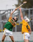 18 October 2020; Shane Conway of Kerry in action against Paddy Burke of Antrim during the Allianz Hurling League Division 2A Final match between Antrim and Kerry at Bord na Mona O'Connor Park in Tullamore, Offaly. Photo by Matt Browne/Sportsfile