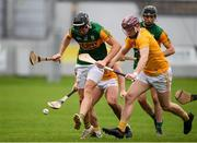 18 October 2020; Michael Leane of Kerry in action against Eoghan Campbell of Antrim during the Allianz Hurling League Division 2A Final match between Antrim and Kerry at Bord na Mona O'Connor Park in Tullamore, Offaly. Photo by Matt Browne/Sportsfile