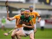 18 October 2020; Michael O'Leary of Kerry in action against Conor McCann of Antrim during the Allianz Hurling League Division 2A Final match between Antrim and Kerry at Bord na Mona O'Connor Park in Tullamore, Offaly. Photo by Matt Browne/Sportsfile