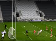 17 October 2020; Ian MaGuire of Cork shoots to score his side's third goal during the Allianz Football League Division 3 Round 6 match between Cork and Louth at Páirc Ui Chaoimh in Cork. Photo by Harry Murphy/Sportsfile