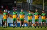 18 October 2020; Donegal players, from left, Neil McGee, Caolan McGonigle, Michael Murphy, Ryan McHugh, Oisin Gallen and Jeaic McKelvey stand for Amhrán na bhFiann prior to the Allianz Football League Division 1 Round 6 match between Donegal and Tyrone at MacCumhail Park in Ballybofey, Donegal. Photo by David Fitzgerald/Sportsfile