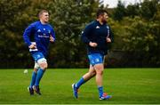 19 October 2020; Dan Leavy, left, and Ciaran Parker during Leinster Rugby squad training at UCD in Dublin. Photo by Ramsey Cardy/Sportsfile