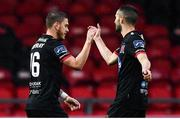 19 October 2020; Sean Murray, left, of Dundalk celebrates after scoring his side's first goal with team-mate Michael Duffy during the SSE Airtricity League Premier Division match between Derry City and Dundalk at Ryan McBride Brandywell Stadium in Derry. Photo by Harry Murphy/Sportsfile