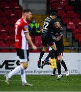 19 October 2020; Sean Murray, right, of Dundalk celebrates after scoring his side's first goal with team-mate Stefan Colovic during the SSE Airtricity League Premier Division match between Derry City and Dundalk at Ryan McBride Brandywell Stadium in Derry. Photo by Harry Murphy/Sportsfile