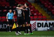 19 October 2020; Dundalk players celebrate after their first goal, score by Sean Murray, during the SSE Airtricity League Premier Division match between Derry City and Dundalk at Ryan McBride Brandywell Stadium in Derry. Photo by Harry Murphy/Sportsfile