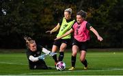 19 October 2020; Goalkeeper Courtney Brosnan claims to ball ahead of Diane Caldwell and Leanne Kiernan, right, during a Republic of Ireland Women training session at Sportschule Wedau in Duisburg, Germany. Photo by Stephen McCarthy/Sportsfile
