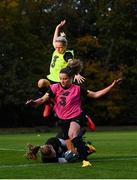 19 October 2020; Goalkeeper Courtney Brosnan claims to ball ahead of Diane Caldwell, yellow bib, and Leanne Kiernan during a Republic of Ireland Women training session at Sportschule Wedau in Duisburg, Germany. Photo by Stephen McCarthy/Sportsfile