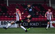 19 October 2020; Jordan Flores of Dundalk shoots to score his side's second goal during the SSE Airtricity League Premier Division match between Derry City and Dundalk at Ryan McBride Brandywell Stadium in Derry. Photo by Harry Murphy/Sportsfile