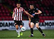 19 October 2020; Conor Clifford of Derry City in action against Michael Duffy of Dundalk during the SSE Airtricity League Premier Division match between Derry City and Dundalk at Ryan McBride Brandywell Stadium in Derry. Photo by Harry Murphy/Sportsfile