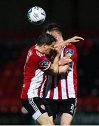 19 October 2020; Ciarán Coll, left, and Cameron McJannett of Derry City collide during the SSE Airtricity League Premier Division match between Derry City and Dundalk at Ryan McBride Brandywell Stadium in Derry. Photo by Harry Murphy/Sportsfile