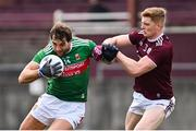 18 October 2020; Aidan O'Shea of Mayo is tackled by Séan Andy Ó Ceallaigh of Galway during the Allianz Football League Division 1 Round 6 match between Galway and Mayo at Tuam Stadium in Tuam, Galway. Photo by Ramsey Cardy/Sportsfile