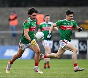 18 October 2020; Mark Moran, right, and Conor Loftus of Mayo during the Allianz Football League Division 1 Round 6 match between Galway and Mayo at Tuam Stadium in Tuam, Galway. Photo by Ramsey Cardy/Sportsfile