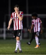 19 October 2020; A dejected Cameron McJannett of Derry City leaves the pitch following the SSE Airtricity League Premier Division match between Derry City and Dundalk at Ryan McBride Brandywell Stadium in Derry. Photo by Harry Murphy/Sportsfile