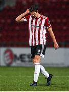 19 October 2020; Eoin Toal of Derry City reacts following the SSE Airtricity League Premier Division match between Derry City and Dundalk at Ryan McBride Brandywell Stadium in Derry. Photo by Harry Murphy/Sportsfile
