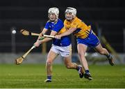19 October 2020; Devon Ryan of Tipperary in action against William Halpin of Clare during the Bord Gáis Energy Munster Hurling Under 20 Championship Quarter-Final match between Tipperary and Clare at Semple Stadium in Thurles, Tipperary. Photo by Piaras Ó Mídheach/Sportsfile