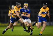 19 October 2020; Conor Bowe of Tipperary in action against Dylan McMahon, left, and Darragh Healy of Clare during the Bord Gáis Energy Munster Hurling Under 20 Championship Quarter-Final match between Tipperary and Clare at Semple Stadium in Thurles, Tipperary. Photo by Piaras Ó Mídheach/Sportsfile