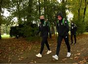 20 October 2020; Katie McCabe, right, and Grace Moloney arrive for a Republic of Ireland Women training session at Sportschule Wedau in Duisburg, Germany. Photo by Stephen McCarthy/Sportsfile