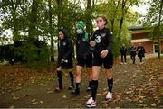 20 October 2020; Leanne Kiernan, right, Niamh Farrelly and Denise O'Sullivan, left, arrive for a Republic of Ireland Women training session at Sportschule Wedau in Duisburg, Germany. Photo by Stephen McCarthy/Sportsfile