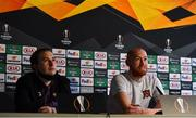 21 October 2020; Chris Shields, right, and Dundalk media officer Darren Crawley during a Dundalk Press Conference at Tallaght Stadium in Dublin. Photo by Ben McShane/Sportsfile