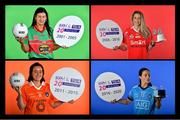 23 October 2020; Fiche Bliain ag Fás! The Ladies Gaelic Football Association and Championship sponsors TG4 are delighted to announce that all 42 games in the 2020 TG4 All-Ireland Championships will be available to watch LIVE. TG4 will screen 9 games in total – including the Junior, Intermediate and Senior Finals – while the other 33 games will be streamed on various platforms. This landmark announcement comes as 2020 marks the 20th season of TG4's sponsorship of the All-Ireland Ladies Football Championships – and the 20th year of LIVE TV coverage of the All-Ireland Finals. Pictured to mark the launch of the 2020 TG4 All-Ireland Ladies Football Championships is Christina Heffernan of Mayo, Juliet Murphy of Cork, Mags McAlinden of Armagh and Sinead Aherne of Dublin during the LGFA Championship launch in The Croke Park Hotel in Dublin. Photo by Brendan Moran/Sportsfile