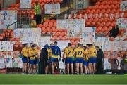 17 October 2020; Roscommon players at half-time during the Allianz Football League Division 2 Round 6 match between Armagh and Roscommon at the Athletic Grounds in Armagh. Photo by Piaras Ó Mídheach/Sportsfile