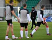 22 October 2020; Dundalk interim head coach Filippo Giovagnoli watches as his players warm-up prior to the UEFA Europa League Group B match between Dundalk and Molde FK at Tallaght Stadium in Dublin. Photo by Seb Daly/Sportsfile