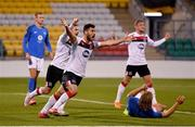 22 October 2020; Patrick Hoban of Dundalk, centre, celebrates alongside team-mates Sean Murray, left, and John Mountney after scoring his side's first goal which was subsequently disallowed during the UEFA Europa League Group B match between Dundalk and Molde FK at Tallaght Stadium in Dublin. Photo by Seb Daly/Sportsfile
