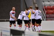 22 October 2020; Sean Murray of Dundalk, second left, is congratulated by team-mates after scoring his side's first goal during the UEFA Europa League Group B match between Dundalk and Molde FK at Tallaght Stadium in Dublin. Photo by Seb Daly/Sportsfile