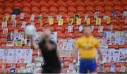 17 October 2020; A general view of self portraits from over 3,000 primary school children across Armagh in the stands as Referee David Gough throws the ball in during the Allianz Football League Division 2 Round 6 match between Armagh and Roscommon at the Athletic Grounds in Armagh. Photo by Piaras Ó Mídheach/Sportsfile
