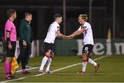 22 October 2020; Patrick McEleney of Dundalk comes on as a substitute for Greg Sloggett during the UEFA Europa League Group B match between Dundalk and Molde FK at Tallaght Stadium in Dublin. Photo by Ben McShane/Sportsfile
