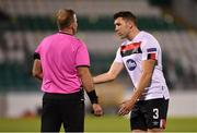 22 October 2020; Brian Gartland of Dundalk remonstares with referee Petri Viljanen during the UEFA Europa League Group B match between Dundalk and Molde FK at Tallaght Stadium in Dublin. Photo by Seb Daly/Sportsfile