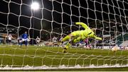22 October 2020; Ohi Kwoeme Omoijuanfo of Molde FK shoots to score his side's second goal from the penalty spot past Gary Rogers of Dundalk during the UEFA Europa League Group B match between Dundalk and Molde FK at Tallaght Stadium in Dublin. Photo by Seb Daly/Sportsfile