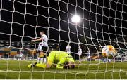 22 October 2020; Gary Rogers of Dundalk reacts after conceding a goal during the UEFA Europa League Group B match between Dundalk and Molde FK at Tallaght Stadium in Dublin. Photo by Seb Daly/Sportsfile