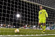 22 October 2020; Gary Rogers of Dundalk collects the ball after conceding second goal during the UEFA Europa League Group B match between Dundalk and Molde FK at Tallaght Stadium in Dublin. Photo by Seb Daly/Sportsfile