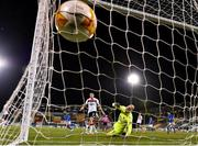 22 October 2020; Etzaz Hussain of Molde FK, left, shoots to score his side's first goal past Gary Rogers of Dundalk during the UEFA Europa League Group B match between Dundalk and Molde FK at Tallaght Stadium in Dublin. Photo by Seb Daly/Sportsfile