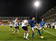 22 October 2020; Eirik Hestad of Molde FK in action against Brian Gartland of Dundalk during the UEFA Europa League Group B match between Dundalk and Molde FK at Tallaght Stadium in Dublin. Photo by Seb Daly/Sportsfile