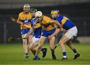 19 October 2020; Cian Galvin of Clare in action against Conor Bowe of Tipperary during the Bord Gáis Energy Munster Hurling Under 20 Championship Quarter-Final match between Tipperary and Clare at Semple Stadium in Thurles, Tipperary. Photo by Piaras Ó Mídheach/Sportsfile
