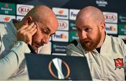 22 October 2020; Dundalk interim head coach Filippo Giovagnoli, left, and opposition analyst Shane Keegan during a post-match press conference following the UEFA Europa League Group B match between Dundalk and Molde FK at Tallaght Stadium in Dublin. Photo by Ben McShane/Sportsfile
