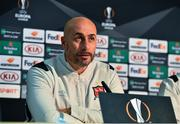 22 October 2020; Dundalk interim head coach Filippo Giovagnoli during a post-match press conference following the UEFA Europa League Group B match between Dundalk and Molde FK at Tallaght Stadium in Dublin. Photo by Ben McShane/Sportsfile