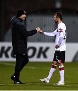 22 October 2020; Dundalk interim head coach Filippo Giovagnoli and Stefan Colovic of Dundalk following the UEFA Europa League Group B match between Dundalk and Molde FK at Tallaght Stadium in Dublin. Photo by Ben McShane/Sportsfile